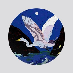 White Crane Spreads Its WIngs Ornament (Round)