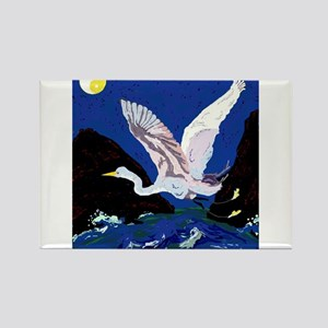 White Crane Spreads Its WIngs Rectangle Magnet