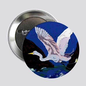 "White Crane Spreads Its WIngs 2.25"" Button"