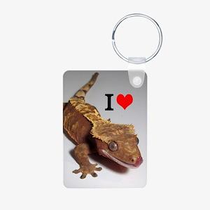 Crested Gecko Aluminum Photo Keychain