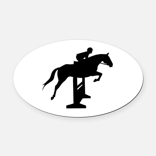 Hunter Jumper Over Fences Oval Car Magnet