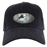 Dark-Eyed Junco Watercolor Black Cap with Patch
