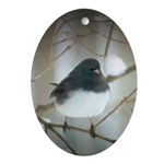 Dark-Eyed Junco Watercolor Oval Ornament