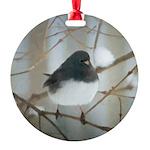 Dark-Eyed Junco Watercolor Round Ornament