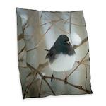 Dark-Eyed Junco Watercolor Burlap Throw Pillow
