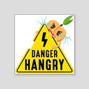 "Emoji Peach Hangry Square Sticker 3"" x 3"""