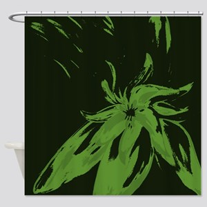 Olive Green Floral Shower Curtain