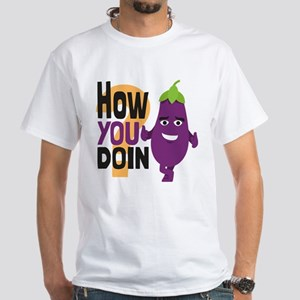 Emoji How You Doin Eggplant White T-Shirt