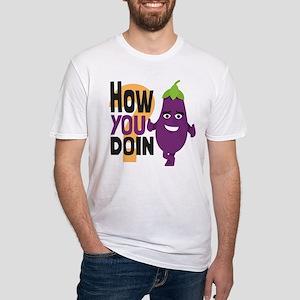 Emoji How You Doin Eggplant Fitted T-Shirt