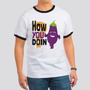 Emoji How You Doin Eggplant Ringer T