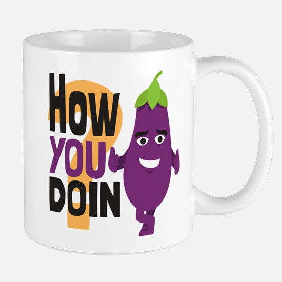 Emoji How You Doin Eggplant Mug