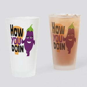 Emoji How You Doin Eggplant Drinking Glass