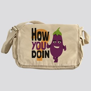 Emoji How You Doin Eggplant Messenger Bag
