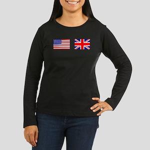 USA and UK Flags for Dark Women's Long Sleeve Dark
