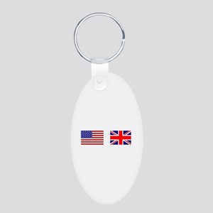 USA UK Flags for White Stuff Aluminum Oval Keychai