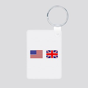 USA UK Flags for White Stuff Aluminum Photo Keycha