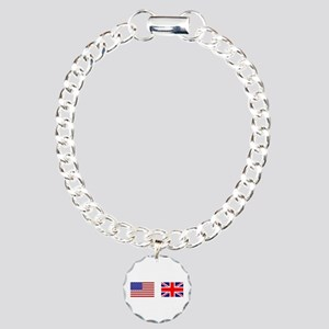 USA UK Flags for White Stuff Charm Bracelet, One C