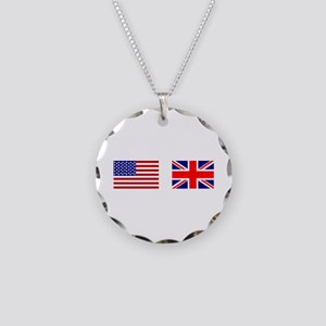 USA UK Flags for White Stuff Necklace Circle Charm