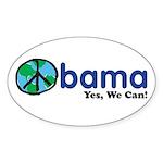 ObamaYesWeCan.png Sticker (Oval 10 pk)