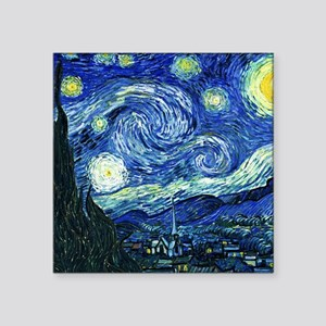 "Van Gogh Starry Night Square Sticker 3"" x 3"""