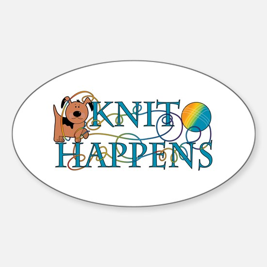 Knit Happen (Dog) Oval Decal