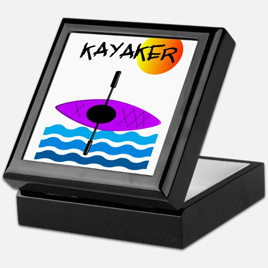 Kayaker 1 purple.PNG Keepsake Box