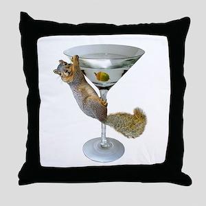 Martini Squirrel Throw Pillow