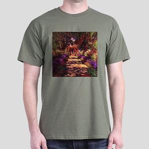 Path In Monet's Garden Dark T-Shirt
