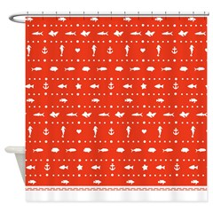Red sealife and Fish Shower Curtain