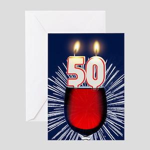 50th birthday wine and birthday candles Greeting C