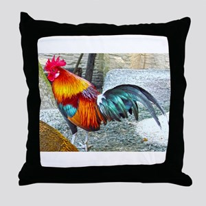 Wake Up Rooster Throw Pillow