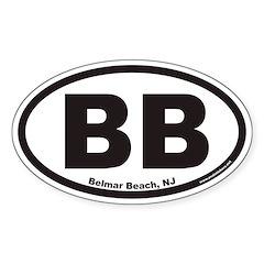 Belmar Beach BB Euro Oval Decal