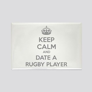 Keep calm and date a rugby player Rectangle Magnet