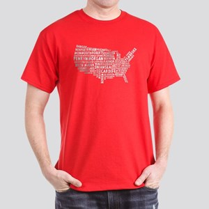 USA Map of Welsh Place Names Dark T-Shirt