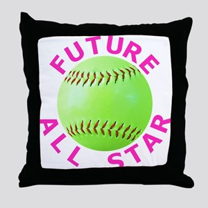 Kids Softball Throw Pillow