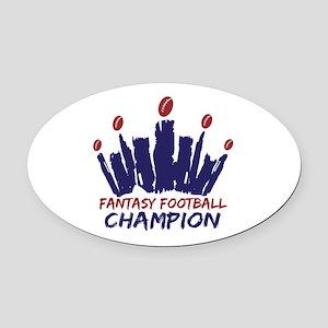 Fantasy Football Champ Crown Oval Car Magnet
