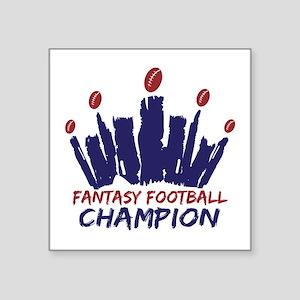 "Fantasy Football Champ Crown Square Sticker 3"" x 3"