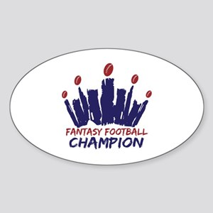 Fantasy Football Champ Crown Sticker (Oval)