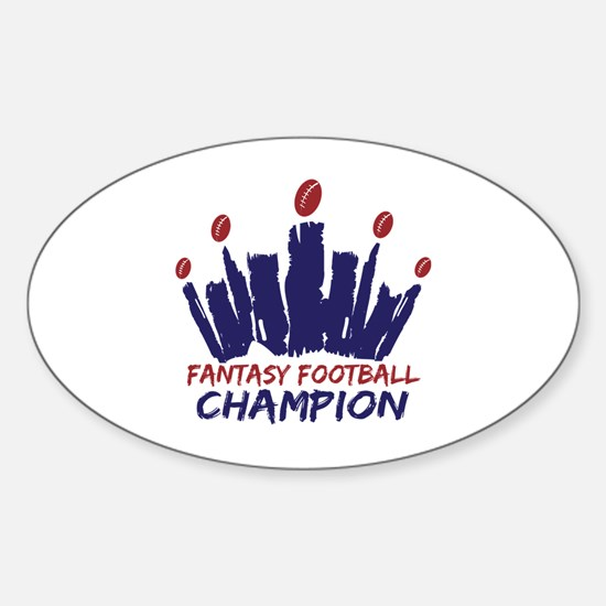 Fantasy Football Champ Crown Sticker (Oval)