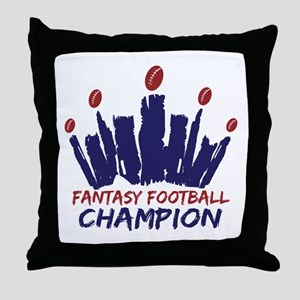 Fantasy Football Champ Crown Throw Pillow