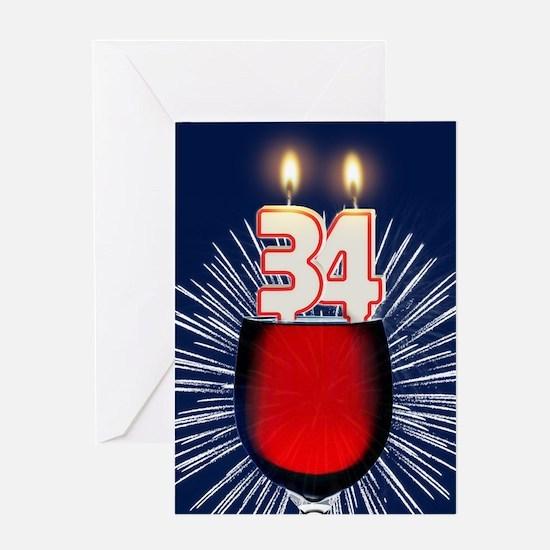 34th birthday wine and birthday candles Greeting C