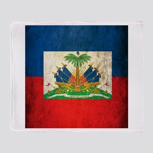 Grunge Haiti Flag Throw Blanket