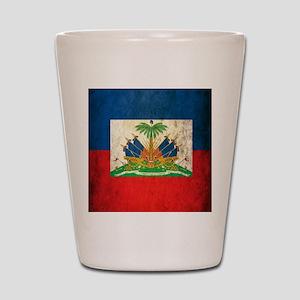 Grunge Haiti Flag Shot Glass