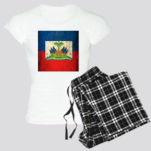 Grunge Haiti Flag Women's Light Pajamas
