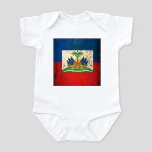 Grunge Haiti Flag Infant Bodysuit