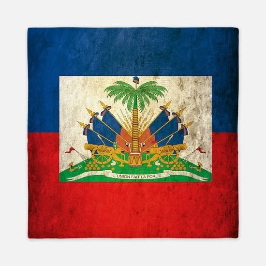Grunge Haiti Flag Queen Duvet