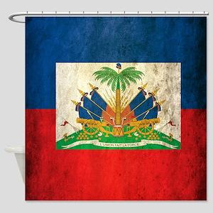Grunge Haiti Flag Shower Curtain