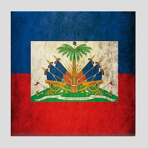 Grunge Haiti Flag Tile Coaster