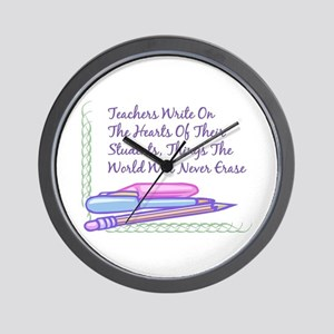 Teachers Write On The Hearts. Wall Clock