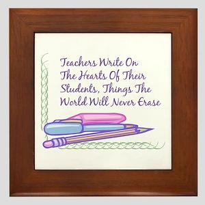Teachers Write On The Hearts. Framed Tile
